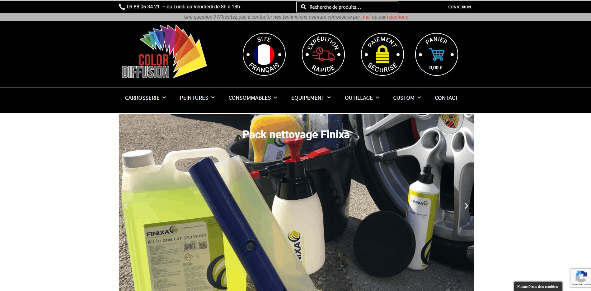 Site internet Paris Lyon - référencement naturel SEO, présentation des produits lavants pour carrosserie